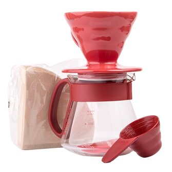 set HARIO dripper - zásobník - filtre VCSD-02 red + brown